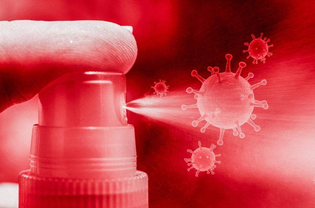 Coronavirus Desinfektionsmittel und Spender