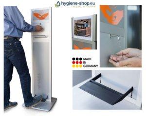 Händedesinfektion Desinfektionssäule mit Fußbedienung – Überall Platzierbar