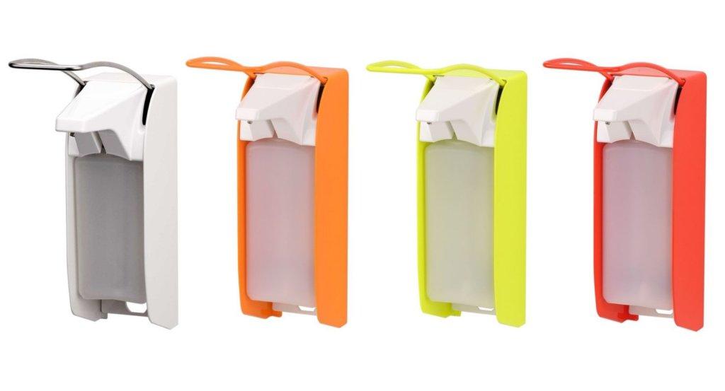 Desinfektionsspender mit Armhebel in Weiß, Orange, Gelb, Rot