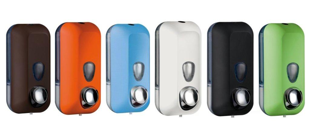 Seifenspender in Braun, Orange, Blau, Weiß, Schwarz, Grün (Colored Edition von Marplast)