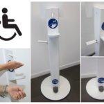 Desinfektionsmittelständer für Rollstuhlfahrer und Menschen mit Handicap
