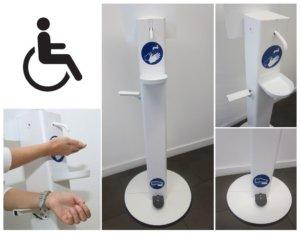 Desinfektionsmittelständer für Rollstuhlfahrer & Menschen mit Handicap