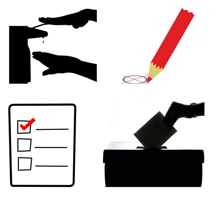 Handdesinfektion Desinfektionssäulen Wahlen und Wahllokale Corona-Proof abstimmen