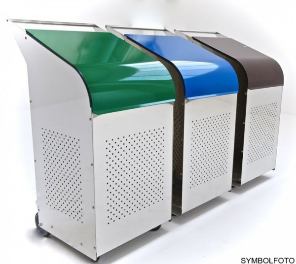 G-Line Pro Abfalleimer Ecobin aus poliertem Edelstahl 1.4301 Aluminiumdeckel Grün G-line Pro K00032104
