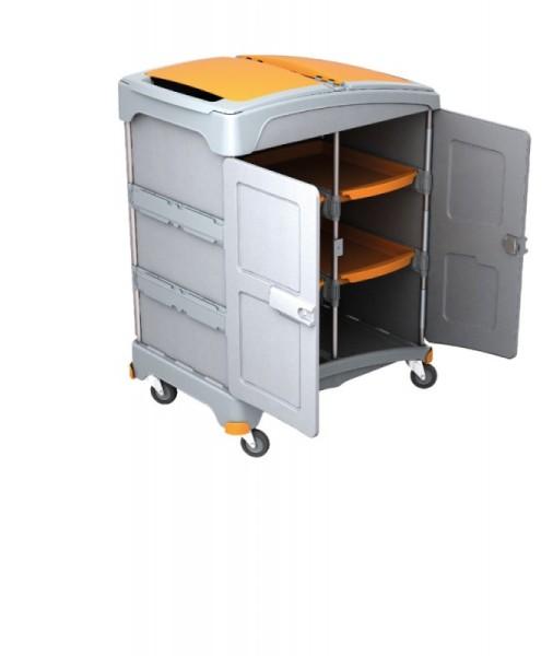 Splast plastic mobile wet cleaning system with a shelf with 4 trays - orange/grey Splast TSZZ-0004