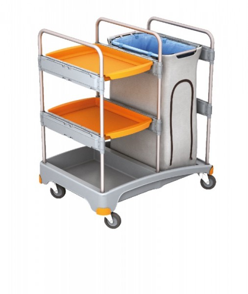 Splast cleaning trolley with waste bag holder incl. covering and with 2 trays Splast TSZ-0014