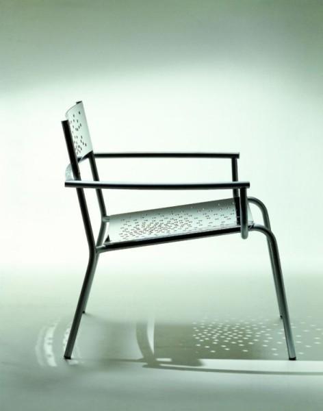 Tempesta italienischer Outdoor Sessel aus Edelstahl 1.4016 silber lackiert und behandelt Graepel Tempesta K00042648