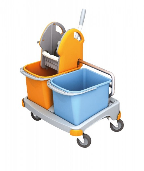 Splast kleiner Reinigungswagen in orange und blau mit Moppresse und 2 Plastikeimern Splast TS-0025