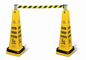 Yellow wet floor sign made of plastic by RUBBERMAID