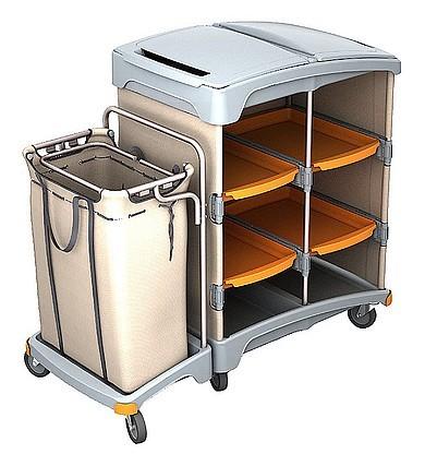 Splast Hotelwagen aus Kunststoff mit Regal und Leinensack 120l - Deckel optional Splast TSH-0012,TSH-0013