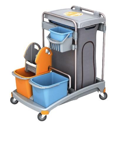 Splast Putzwagen mit Müllsackhalter inkl. Deckel, mit 3 Plastikeimern und Moppresse Splast  TSS-0009