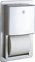 B-4388 Edelstahl WC-Papierrollenhalter für Wandeinbau abschließbar für 2 WC Rollen