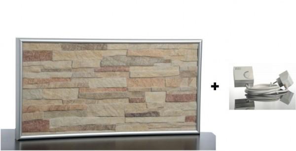 Set - Infrarot Steinheizung 200W mit Wandhalterung und Kabel und Stecker plus Thermostat Elbo therm FL 200,Eberle