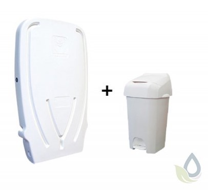 SET folding changing table made of plastic and white Nappease ª diaper pail 60 liter NB60W