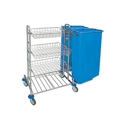 Splast chrome cleaning trolley with 3 metal baskets and 2x 120l bag holders right Splast ZS-0013