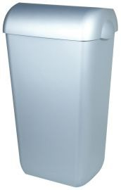 PlastiQline waste bin in stainless steel look 23 L for wall mouting or free standing PlastiQ-line 5671