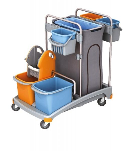 Splast plastic trolley set incl. waste bag holder 120 l, 5 buckets and wringer Splast TSS-0008