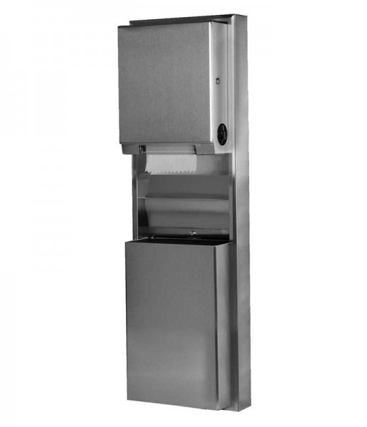 Bobrick 39619 recessed convertible paper towel dispenser and waste receptacle Bobrick B-39619