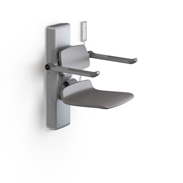 Pressalit shower seat with electric motor, backrest and armrests and remote control Pressalit R7470000,R7470112