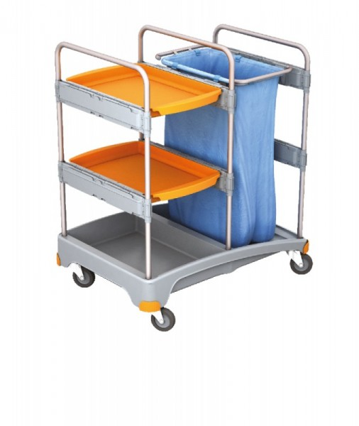 Splast cleaning trolley made of plastic - with 2 trays and waste bag holder 120l Splast TSZ-0013