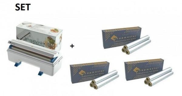 SET efficient Warpmaster dispenser 3000 + 3 carton aluminum foil 3000 Wrapmaster 63M90,24C62