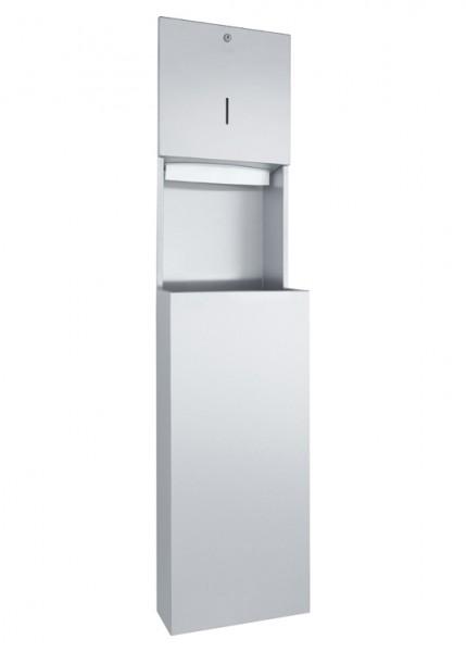 Wagner-EWAR WP5110 Kombination 500Bl./32l Papierhandtuchspender Abfalleimer Edelstahl Waschraumausstattung Unterputz A-Line