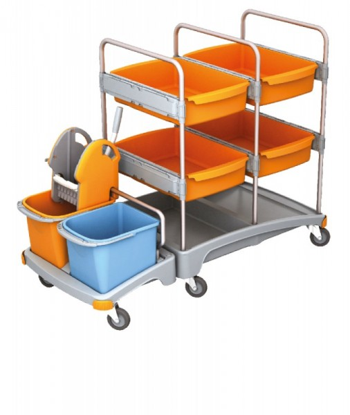 Splast mobiles Reinigungssystem aus Kunststoff mit 4 Fächern, Moppresse und Eimern Splast TSZ-0008