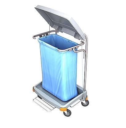 Splast grey plastic waste trolley 120 l with pedal - bag covering is optional Splast TSOP-0002,TSOP-0004