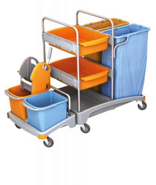 Splast Reinigungswagen mit 2 Abfallsackhaltern, Moppresse und 2 Ablagefächern Splast TSZ-0019
