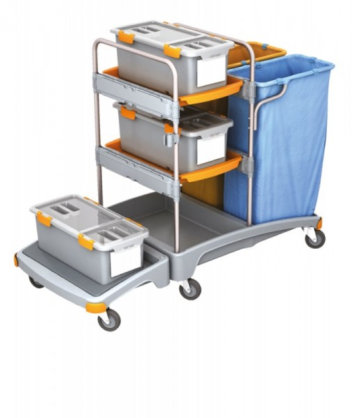 Splast plastic cleaning trolley with 2 waste bag holders, 3 mop boxes and 2 trays Splast TSZD-0003
