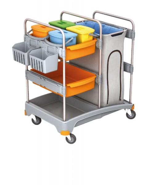 Splast plastic cleaning trolley with bag holder, 4 buckets, 2 baskets and a shelf Splast TSZ-0012