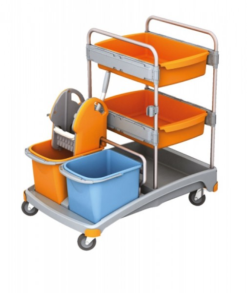 Splast plastic cleaning trolley set with wringer, two buckets and two trays Splast TSS-0011