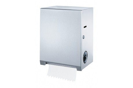 B-2860 surface mounted roll towel dispenser of satin brushed stainless steel Bobrick B-2860