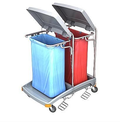 Splast Doppelter Abfallwagen aus Plastik mit Pedal und Deckel - Abdeckung optional Splast TSOP-0006,TSOP-008