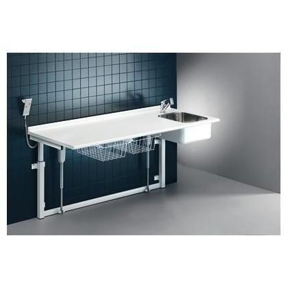 Pressalit Wickeltisch 800 x 1800 mm mit sanitären Artikeln - mit Elektromotor Pressalit R8733