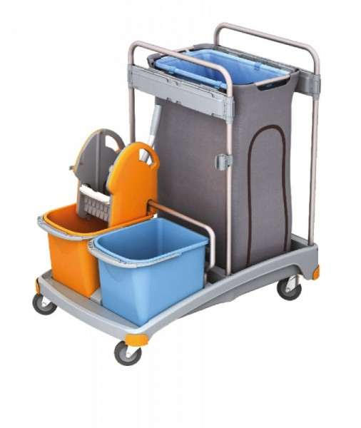 Splast cleaning trolley set with wringer, 2 buckets and trash bag holder with cover Splast TSS-0002