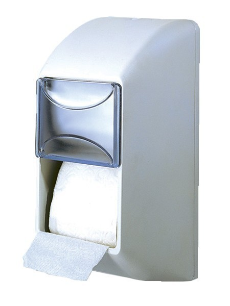 Double wc paper dispenser made of plastic for wall mounting in white