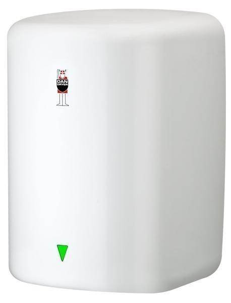 Dan Dryer Turbo Warmlufthändetrockner aus Stahl in weiß mit 1600W und mit IR Sensor