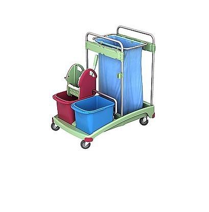 Splast plastic cleaning trolley with waste bag holder 120l, 2 buckets and wringer Splast TSSA-0001