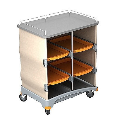 Splast plastic hotel service trolley with shelf with 4 trays + self-adhesive velcro Splast TSH-0001