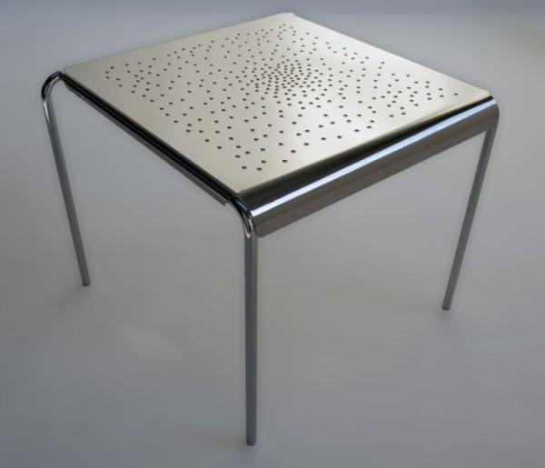 Tempesta hochwertiger Outdoor Tisch aus Edelstahl 1.4016 silber lackiert und behandelt Graepel Tempesta K00042668
