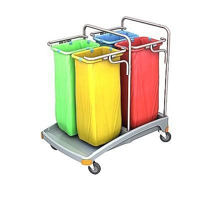 Splast Abfallentsorgungswagen aus Plastik mit Beutelhaltern 4x 70l - Deckel optional Splast TSO-0021,TSO-0022