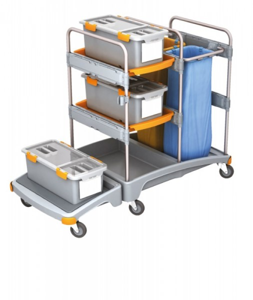 Splast Plastik-Reinigungswagen mit 2x 70l Abfallsackhalter, 3 Mopboxen und Regal Splast TSZD-0004