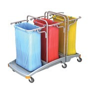Splast triple plastic waste disposal trolley 3 x 120l - lid is optional Splast TSO-0009,TSO0010