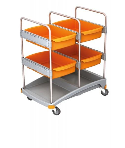 Splast mobiles Reinigungssystem aus Kunststoff mit 4 Ablagefächern - orange/grau Splast TSZ-0015