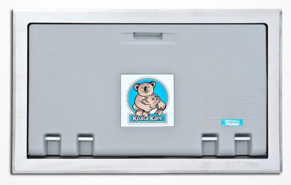 Klappbarer Wickeltisch in grau für den Wandeinbau Koala KB100-ST Sicherheitsgurt