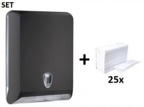 SET Marplast Papierhandtuchspender MP830 Schwarz Colored Edition + Papierhandtücher