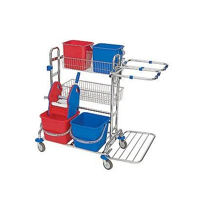 Splast chrome trolley with 4 buckets, 2 baskets, wringer and 2x 70l bag frames Splast ZS-0010