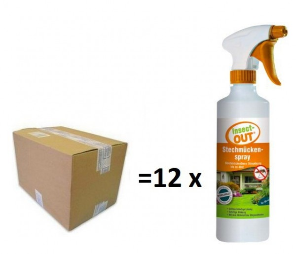 Set 1 Karton mit 12 Stück Insect-OUT® Stechmückenspray gebrauchsfertig 500 ml