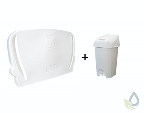Horizontal folding changing table for wall mounting and white 60L diaper pail in SET Vectair Systems NB60W,JBABYHORII